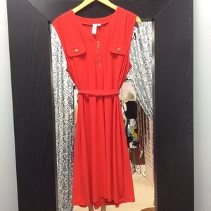SOHO apparel red stretch dress with gold zip XL